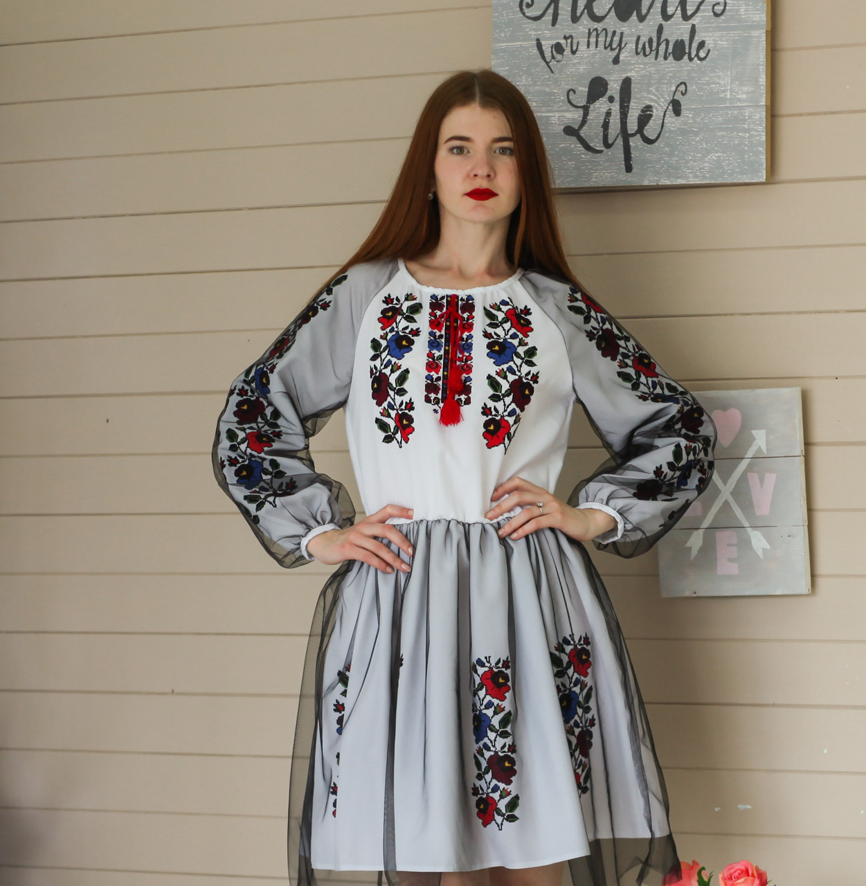 "Жіноче вишите плаття ""Бренді"" (Женское вышитое платье ""Бренди"") PJ-0016"