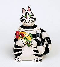 """Фарфоровая  разноцветная сахарница """"Кот Кланси"""" (15см) Купить в подарок подруге."""