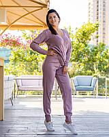 Вязаный женский спортивный костюм цвет бордо, молочный, джинс, пудра, светло-серый, тёмно-серый, голубой