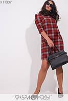 """Платье мини в клетку """"тартан"""" с рукавами 3/4  Разные цвета Большие размеры"""