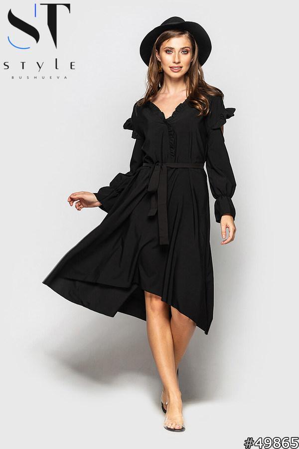 Повітряне літнє плаття видовжене ззаду з вирізами на плечах і пояском