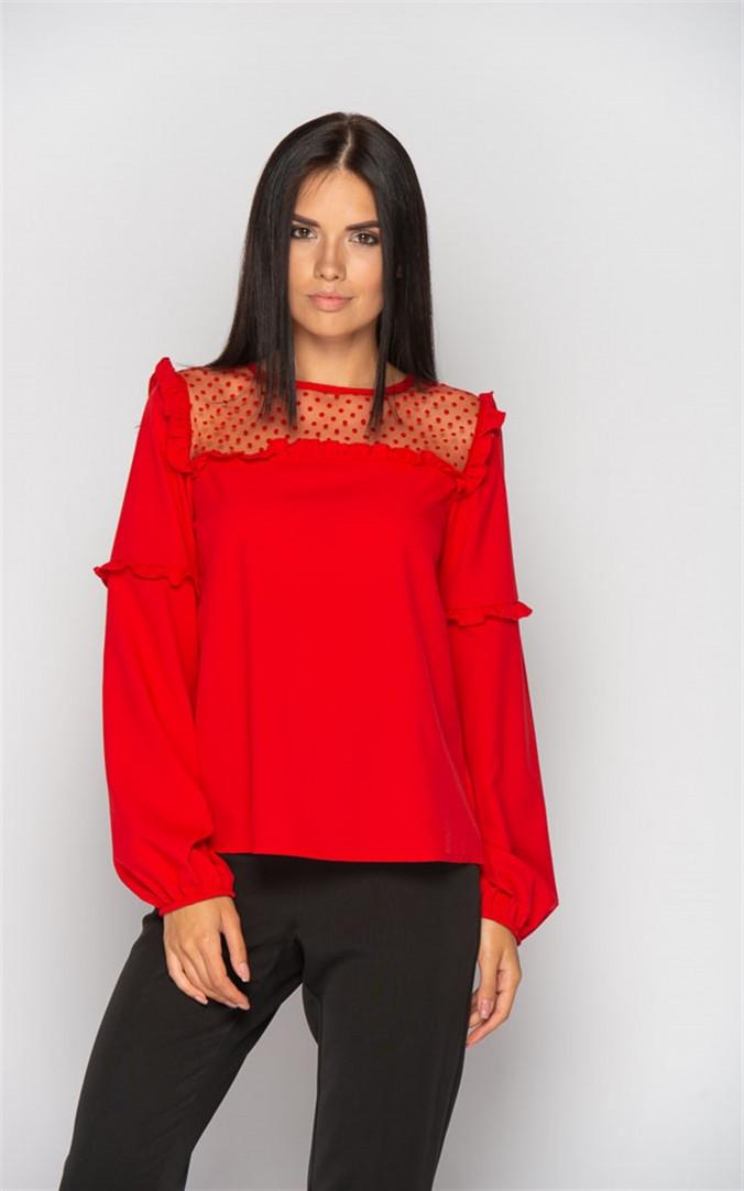 Жіноча нарядна блузка з сіткою (4 кольори)