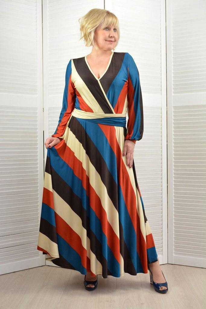 Платье в полоску макси - Модель 1757 - 50/52 размер