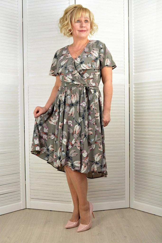Платье шифоновое - Модель 1766-1 - 52, 54, 56 размеры