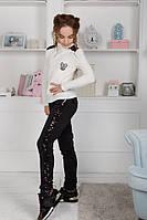 Детские брюки лосины тёплые на меху с пайетками на девочку школьные чёрные 128 134 140 146 152