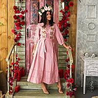 Шикарное льняное вышитое платье Роксолана цвет пудра рр 40 - 52