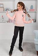 Школьная форма детский свитер гольф на девочку с пайетками розовый 128 134 140 146 152