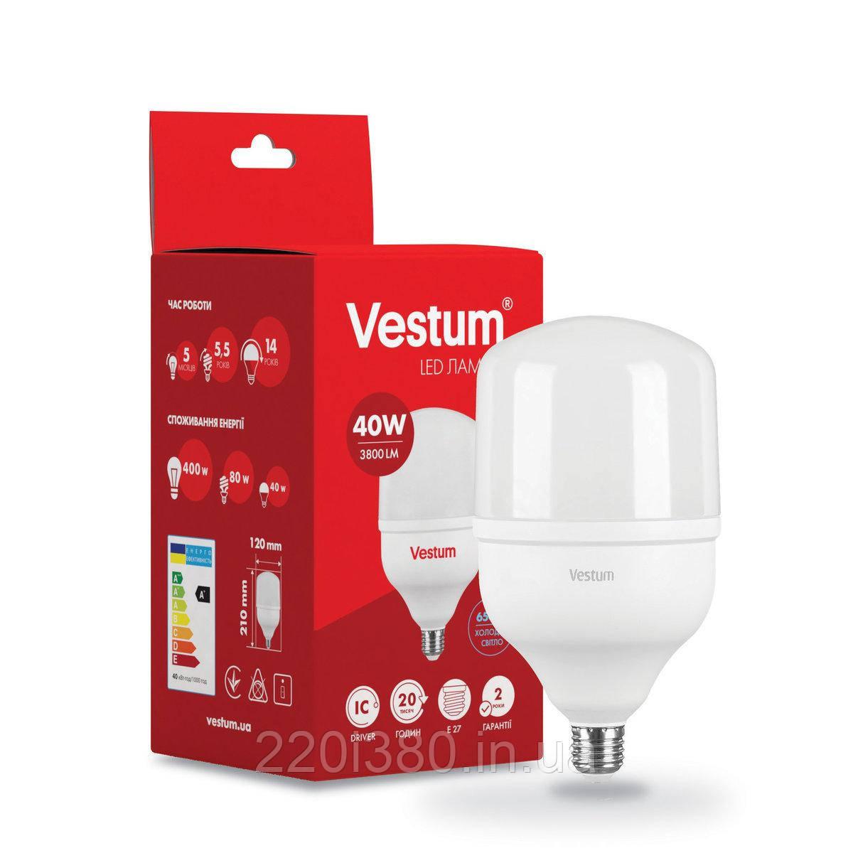 Лампа LED Vestum T120 40W 6500K 220V E27