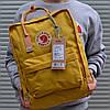 Рюкзак городской качественный Fjallraven Kanken classic, цвет желтый (дизайнерские ручки)
