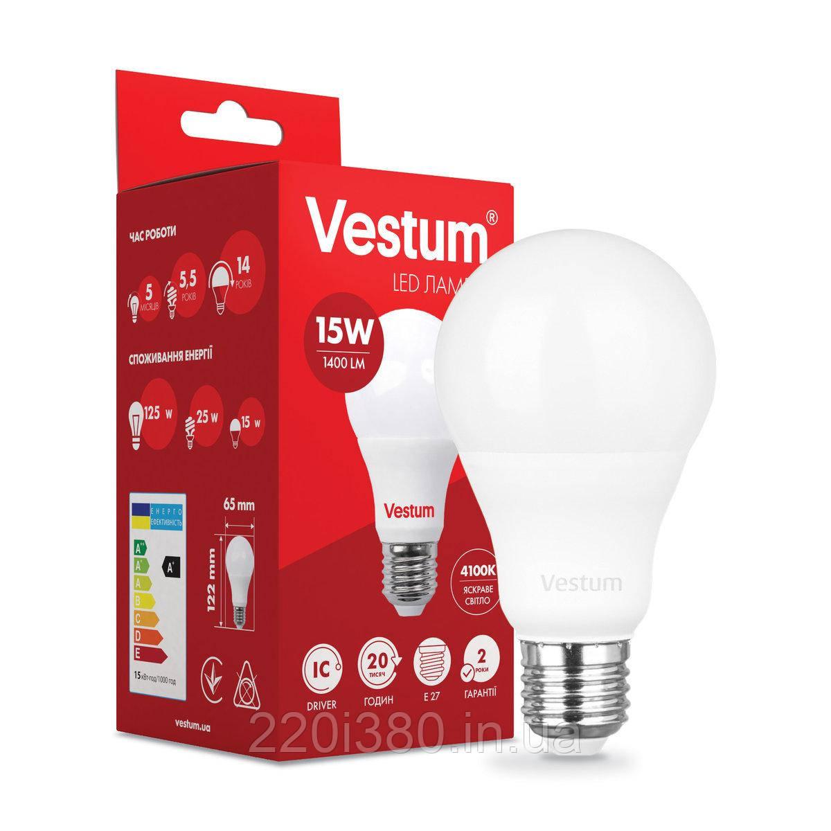 Лампа LED Vestum A65 15W 4100K 220V E27