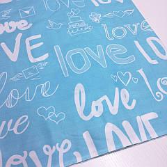 """Ткань Бязь Голд """"Love голубой"""" 220"""