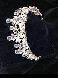 Вішукана діадема світлозолотого кольору з перлинами, фото 4