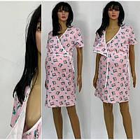 Розовая ночная сорочка для кормления из хлопкового трикотажа с рисунком Котик 44-50 р