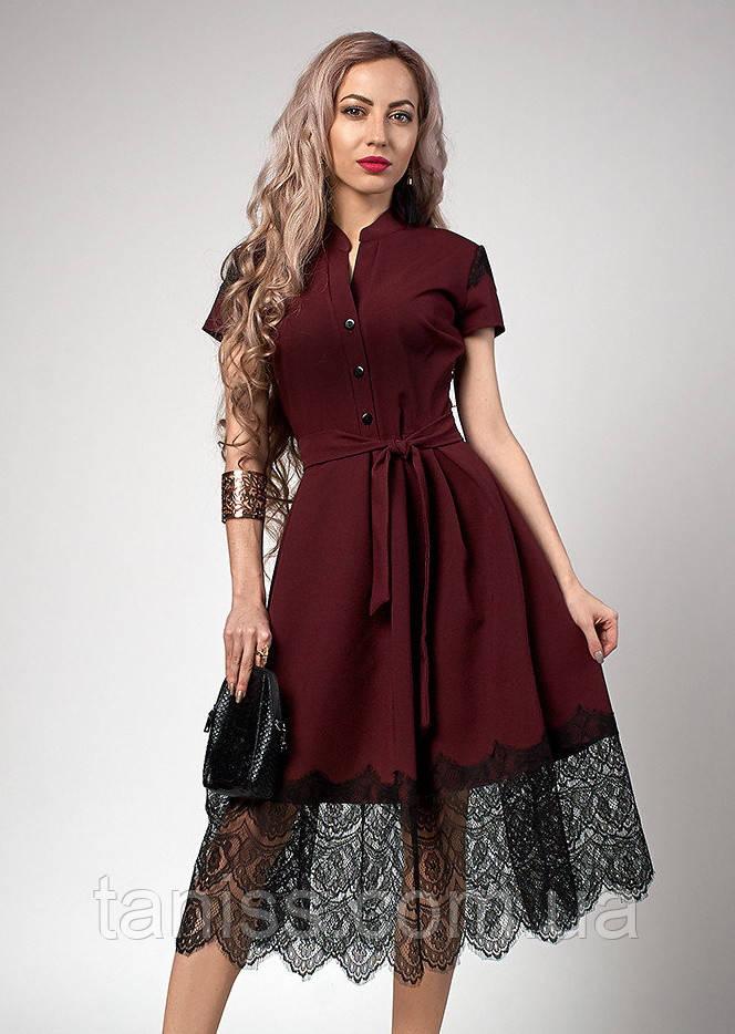 Нарядное шикарное летнее платье, отделка кружево, ткань костюмная тонкая, р 50,52 бордо (701)