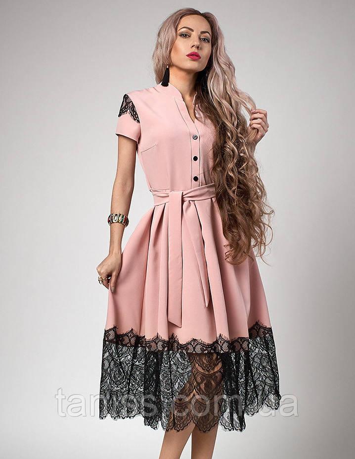 Нарядное шикарное летнее платье, отделка кружево, ткань костюмная тонкая, р-р 50,52 пудра(701)