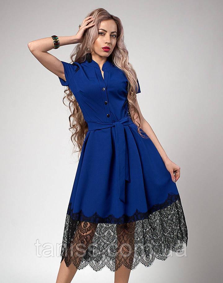 Нарядное шикарное летнее платье, отделка кружево, ткань костюмная тонкая, р-р 50,52 электр (701)