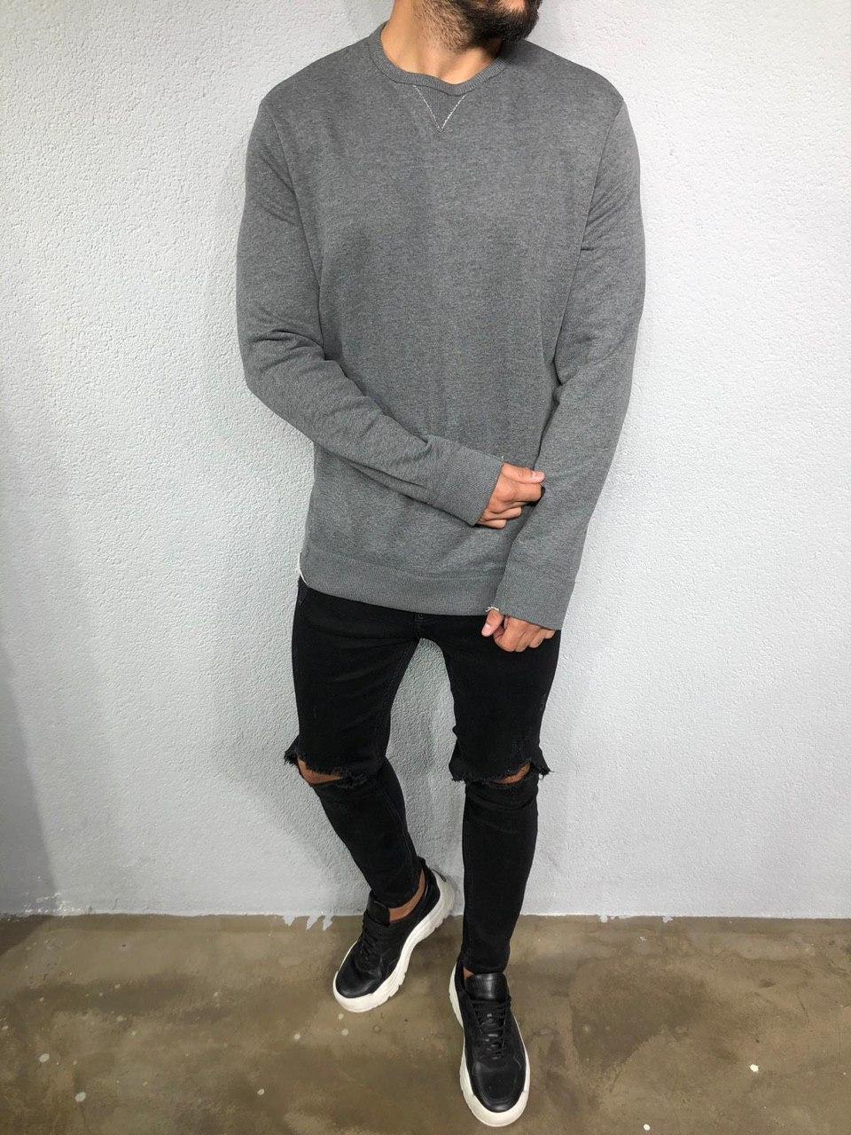 😜 Лонг - чоловічий лонгслив темно-сірий під штани