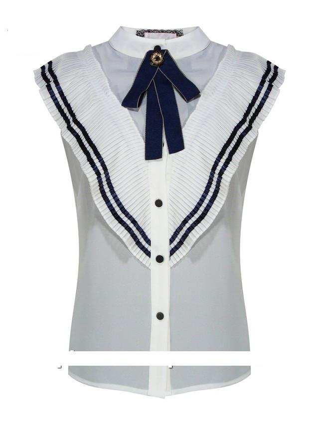 Детская школьная блуза для девочки с коротким рукавом от BEAR RICHI 561769   140-168р.