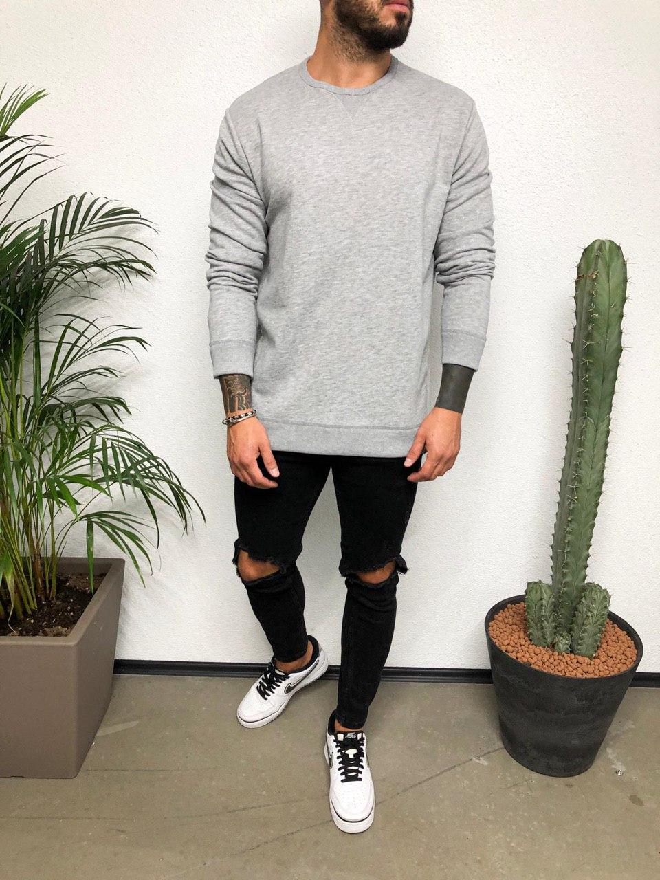 😜 Лонг - мужской лонгслив серый под штаны
