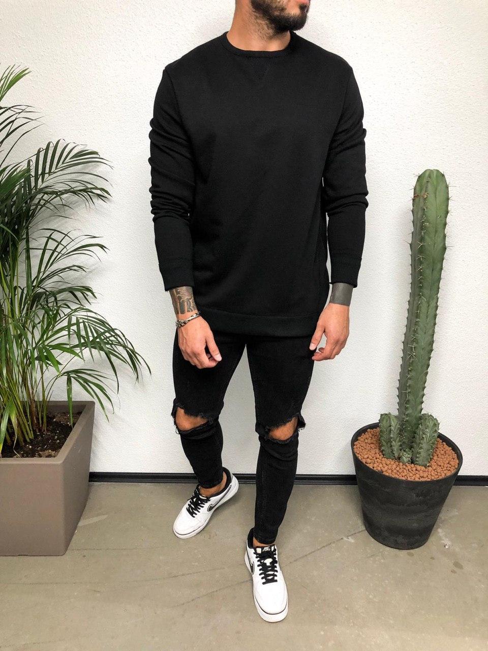 😜 Лонг - мужской лонгслив черный под штаны