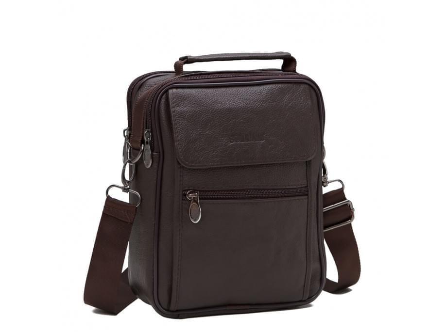 Коричневый кожаный мужской мессенджер HD Leather NM24-404C