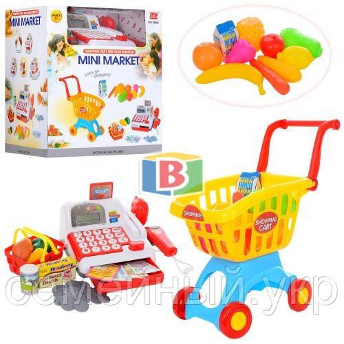 Детский супермаркет. Игровой набор касса,тележка,корзина,сканер.