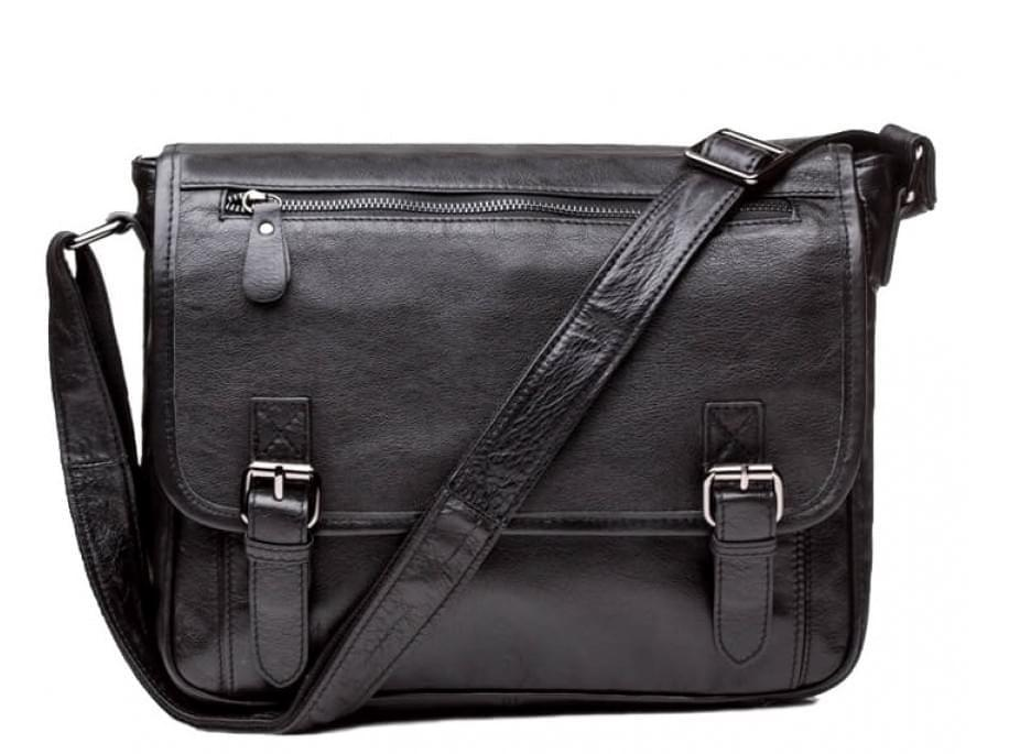 Черный кожаный мессенджер Tiding Bag 6046