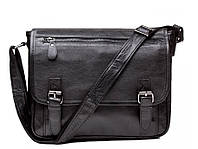 Черный кожаный мессенджер Tiding Bag 6046, фото 1