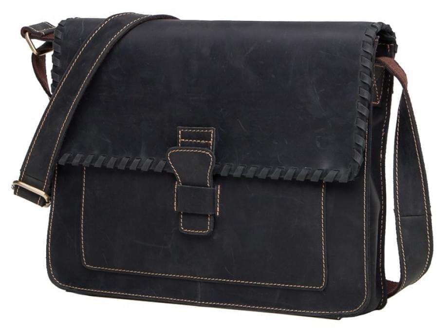 Черный кожаный мужской мессенджер Tiding Bag GW2080DB
