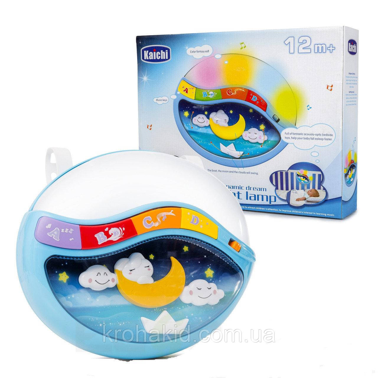Дитячий музичний нічник / проектор 999-108 G звук,світло - блакитний