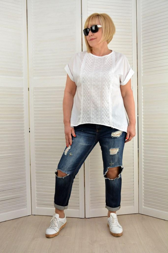 Блуза белая батист прошва   - Модель 1781-3 - 52,54,58 размеры