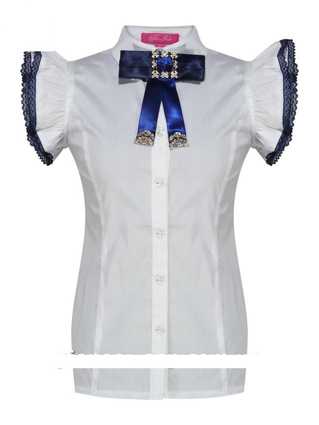 Детская школьная блуза для девочки с коротким рукавом от BEAR RICHI 783316 | 122-158р.