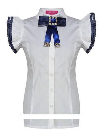Детская школьная блуза для девочки с коротким рукавом от BEAR RICHI 783316 | 122-158р., фото 2