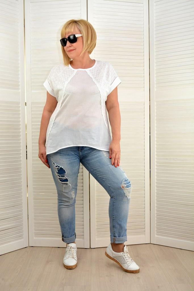 Блуза белая батист прошва   - Модель 1800 - 50 размер
