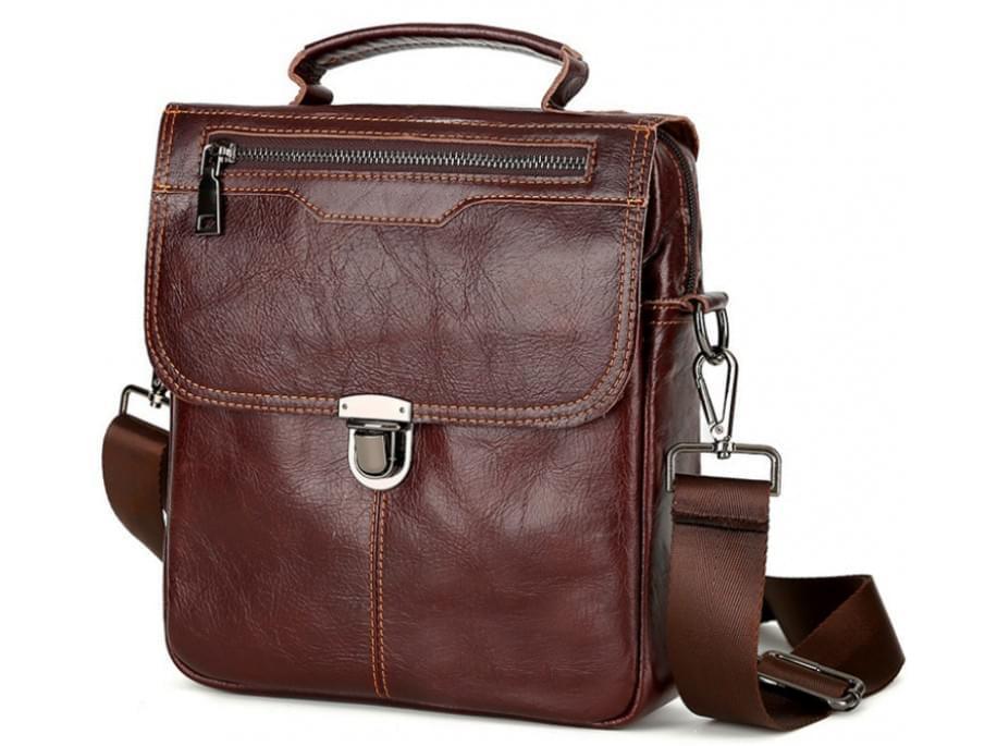 Коричневый кожаный мужской мессенджер TIDING BAG A25-5567B