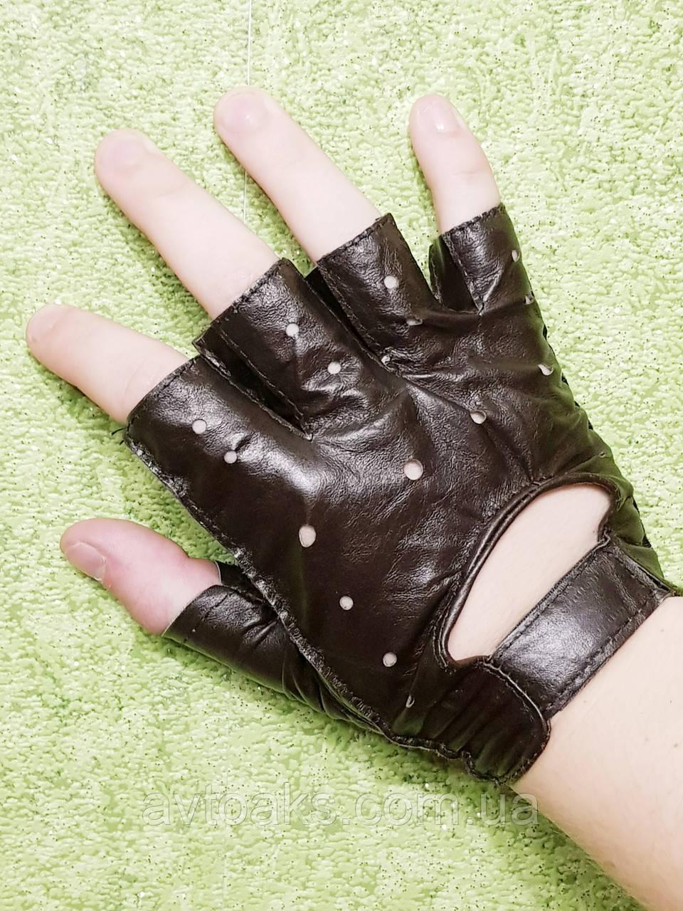 Перчатки кожаные S, тёмно-коричневые