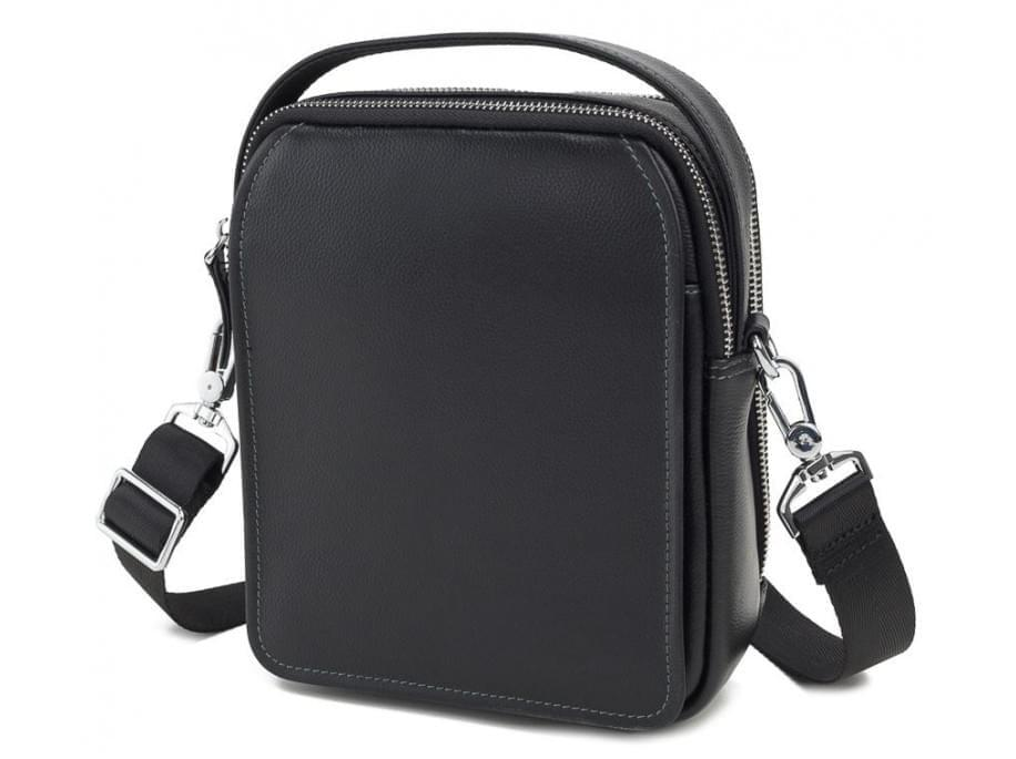 Черный кожаный мужской мессенджер Tiding Bag M711-3A