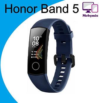 Смарт браслет Honor Band 5, Ip68, 5ATM( Конкурент Mi Band 4)  +датчик кислорода Синий