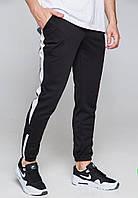 Спортивные штаны черные с белой полоской мужские бренд ТУР модель Рокки (Rocky)