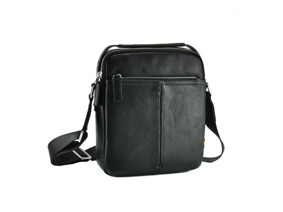 Черный кожаный мессенджер Tiding Bag NM17-9131-3A