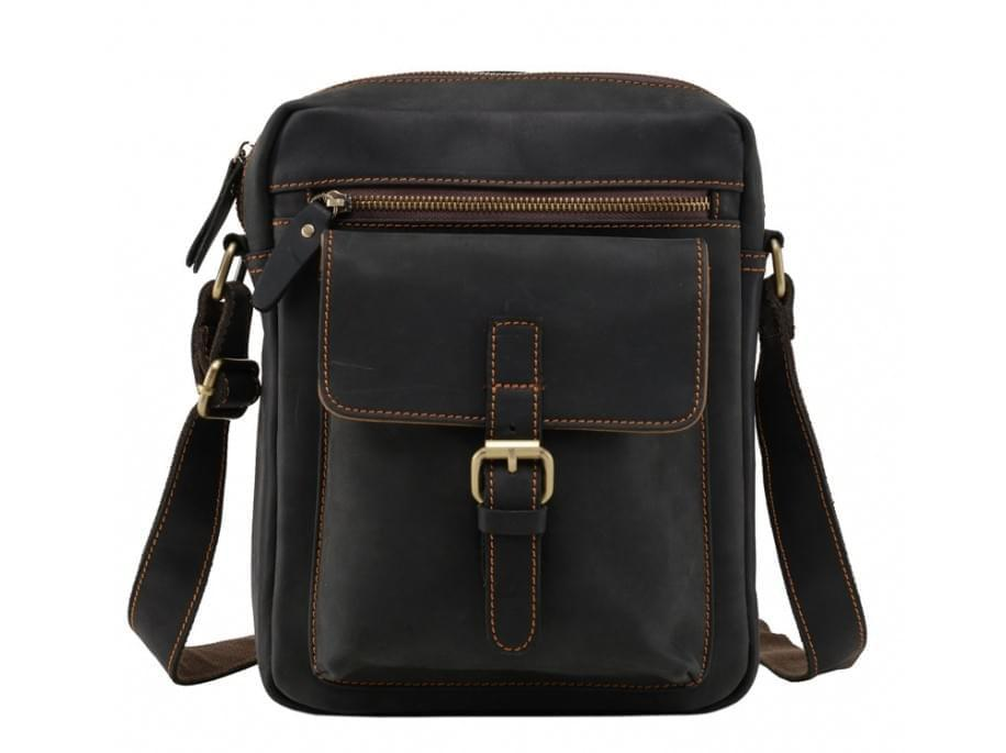 Черный кожаный мессенджер Tiding Bag NM15-1783A