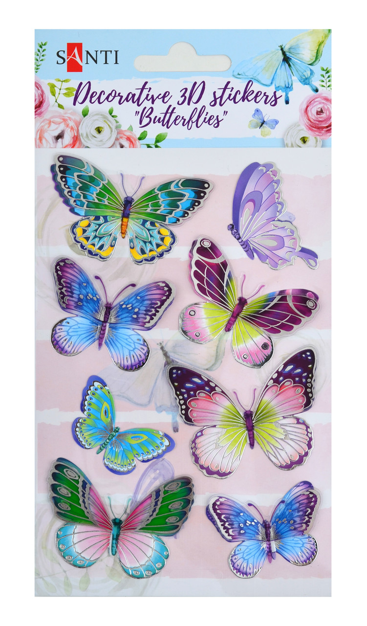 "Набор декоративных 3D стикеров ""Бабочки 2"". 100*150 мм"