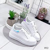 Кроссовки женские Queens белый + голубой , женская обувь