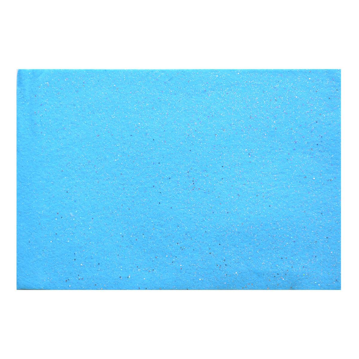 Набор Фетр мягкий с глит., голубой, 21*30см (10л)
