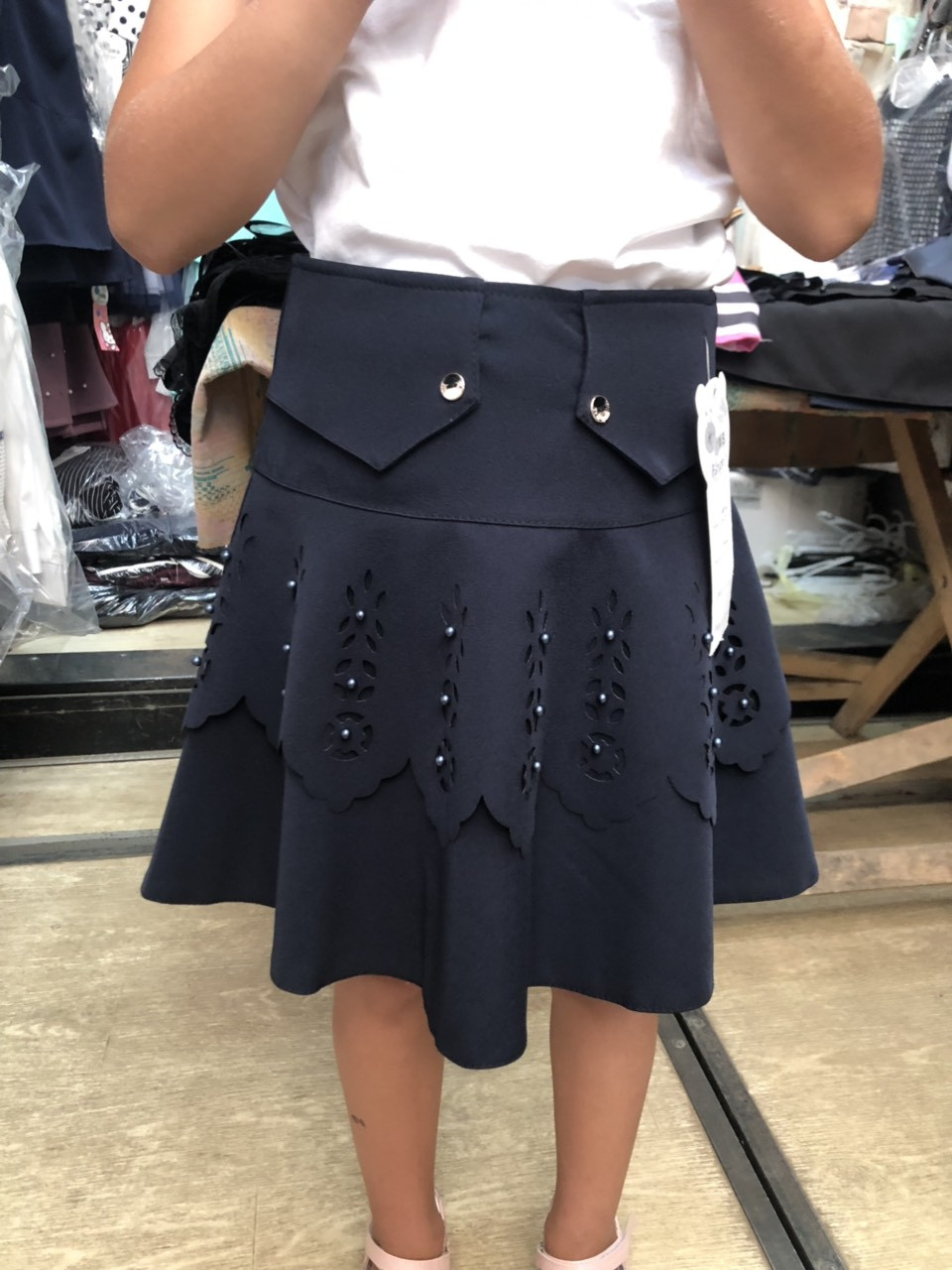 Школьная юбка с перфорацией