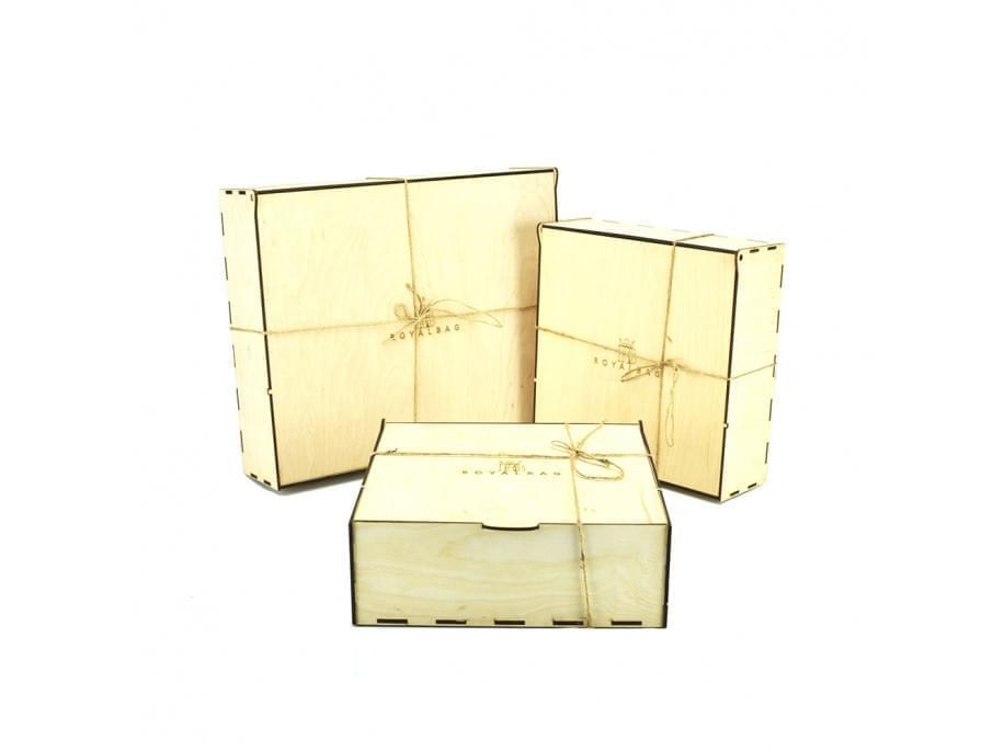 Коробка деревянная бежевая подарочная B2