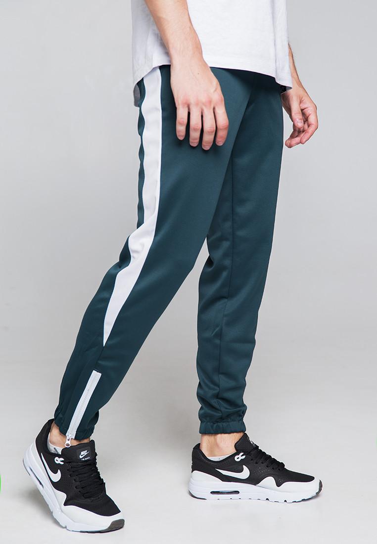 Спортивные штаны мужские зеленые с белой полоской Рокки (Rocky) от бренда ТУР