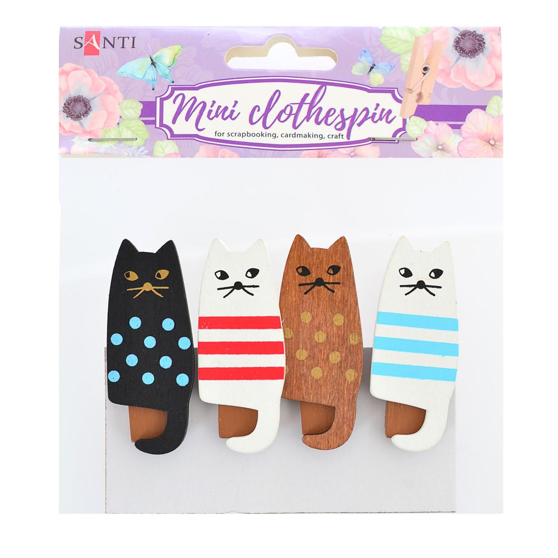 """Набор прищепок деревянных декоративных Santi """"Friendly cats"""", 4.5см, 4шт/уп"""