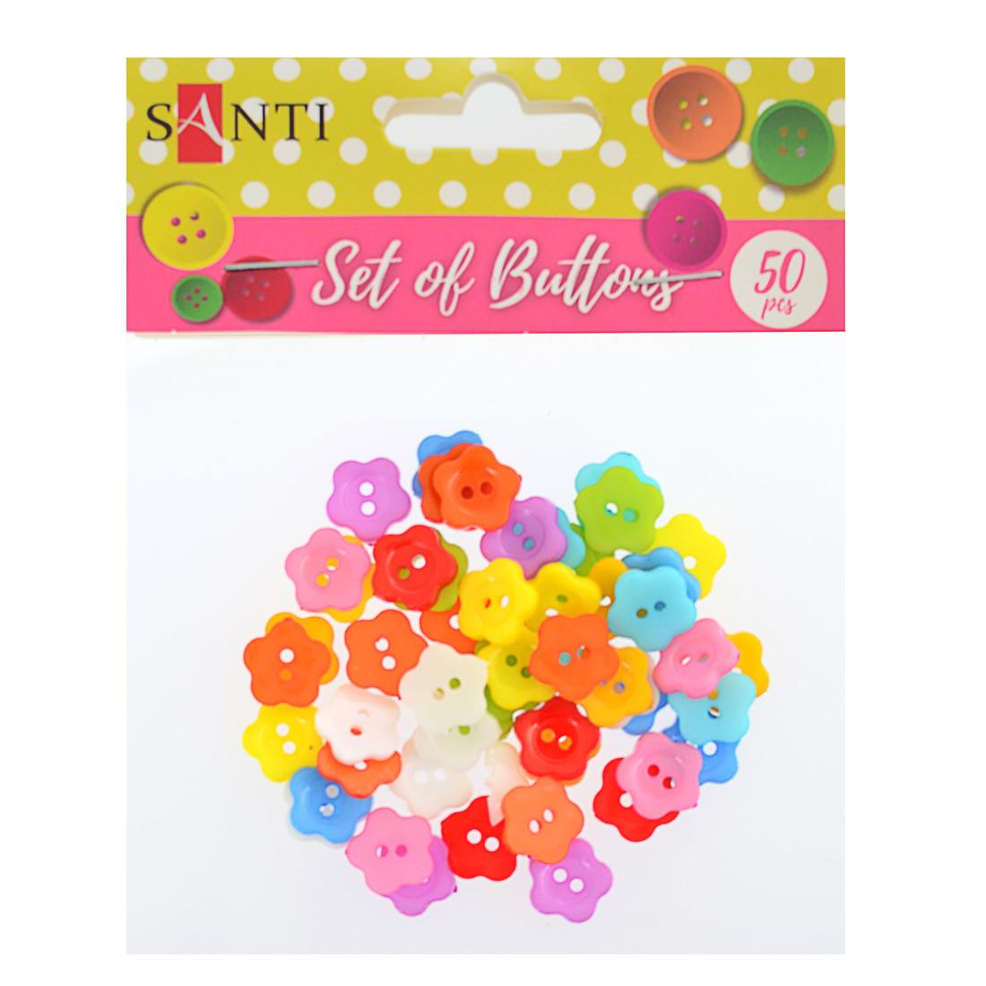 "Набор пуговиц ""Цветы"", пластик, 15мм, 10 цветов, 50шт./уп."