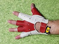 Перчатки кожаные, без пальцев, бело-красные, М